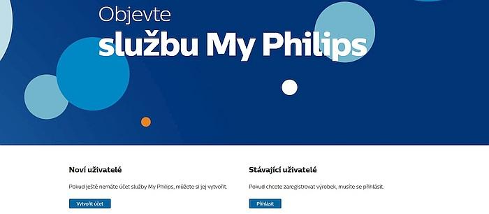 Takto vypadá úvodní obrazovka služby My Philips