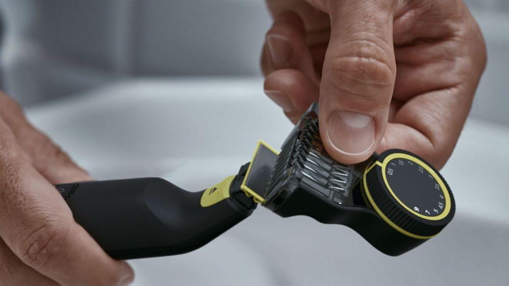 Philips OneBlade Pro QP6530/15 nastavení délky provádíme nastavitelným hřebenem